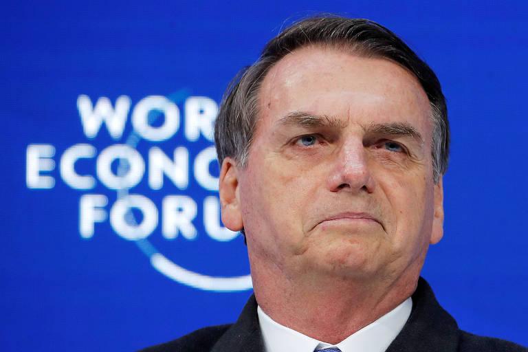 O presidente Jair Bolsonaro faz discurso diante de plateia do Fórum Econômico Mundial, em Davos, na Suíça