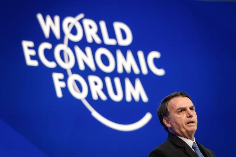 O presidente Bolsonaro fala na abertura do Fórum Econômico Mundial, em Davos
