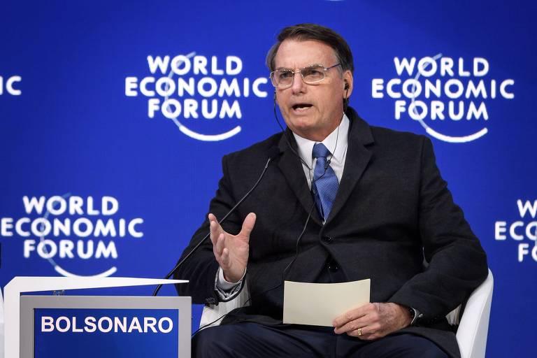 O presidente Jair Bolsonaro discursa em plenária do Fórum Econômico Mundial, em Davos, nesta terça (22)