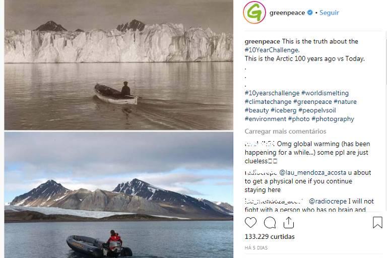 Postagem da ONG Greenpeace vai além do #10yearchallenge e mostra os efeitos do aquecimento global no Ártico