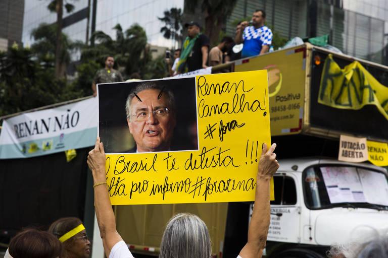 Vem Pra Rua e outras entidades realizam protesto na avenida Paulista contra a candidatura de Renan Calheiros (MDB-AL) à presidência do Senado