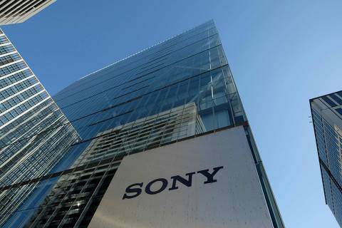 This general view shows the logo of Japan's Sony displayed at an entrance to the company's headquarters in Tokyo on January 23, 2019. - Sony will shift its European headquarters from Britain to the Netherlands to avoid Brexit-related customs issues, but operations at its current UK company will remain unchanged, a company spokesman said on January 23. (Photo by Kazuhiro NOGI / AFP)