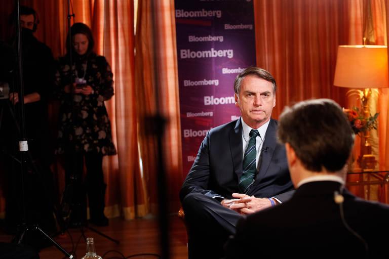 O presidente Jair Bolsonaro durante entrevista para a Bloomberg
