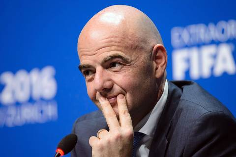 New FIFA President Gianni Infantino holds his first press conference in Zurich on February 26, 2016 following his election. / AFP / FABRICE COFFRINI ORG XMIT: FAB160