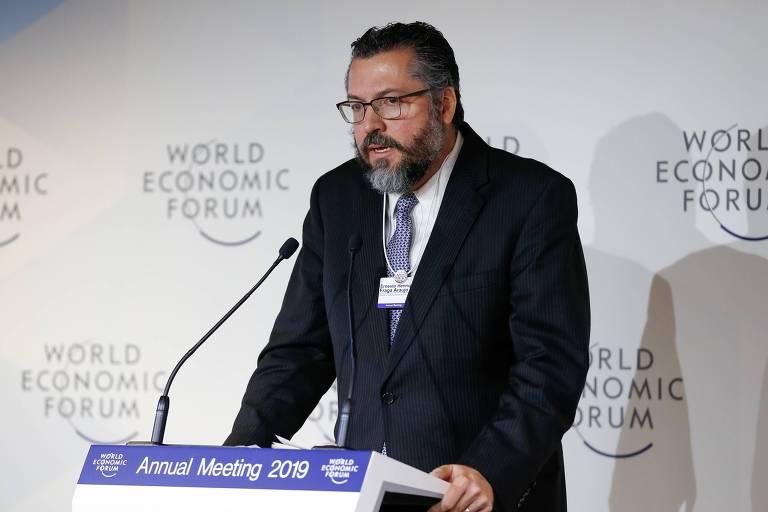 Ministro das Relações Exteriores, Ernesto Araújo, durante o Fórum Econômico Mundial em Davos