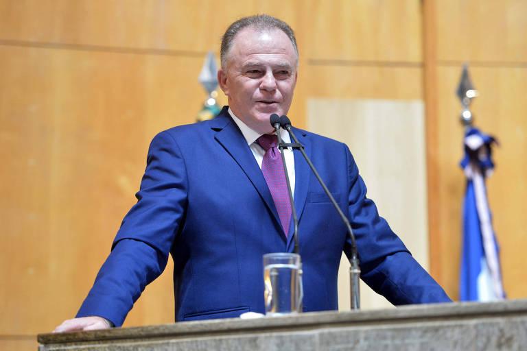 Renato Casagrande (PSB), governador do Espírito Santo, durante solenidade de posse na Assembleia Legislativa