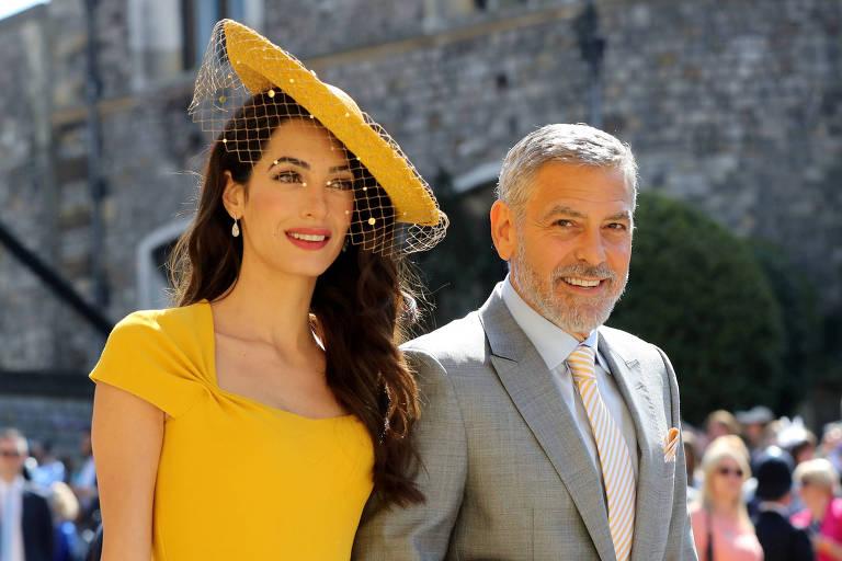 Amal Clooney e George Clooney no casamento de Meghan Markle e príncipe Harry