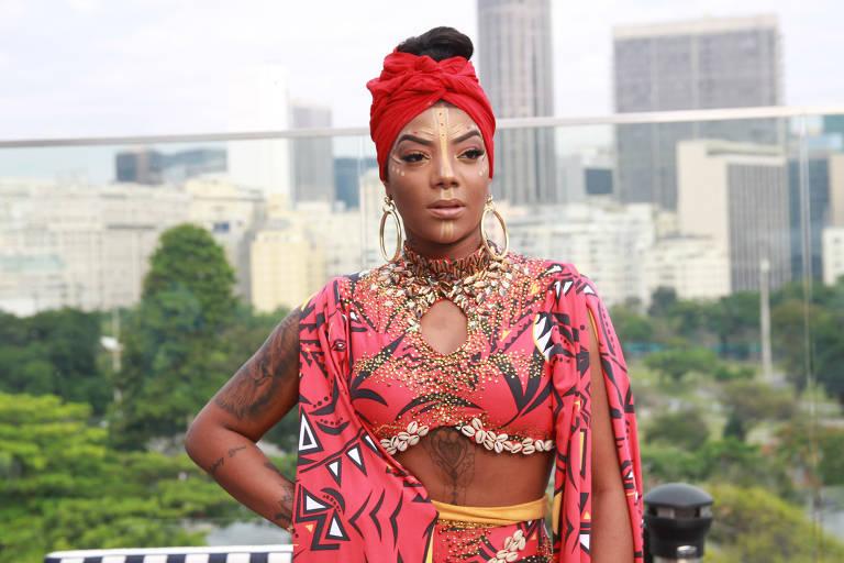 Ludmilla antes de sair com seu bloco no Carnaval do Rio de Janeiro