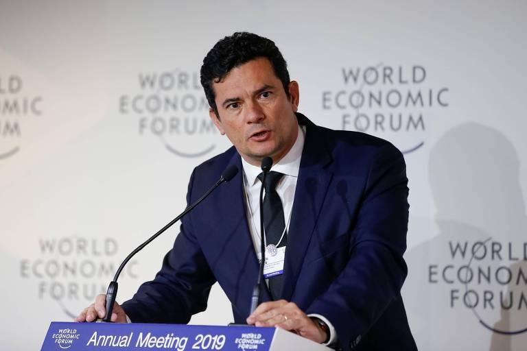 O ministro da Justiça e da Segurança Pública, Sergio Moro, em Davos