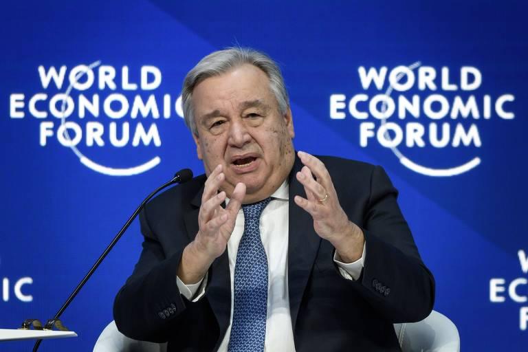 Antonio Guterres fala durante o Fórum Econômico Mundial em Davos