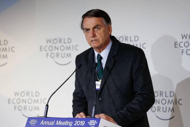 O presidente Jair Bolsonaro durante evento do Fórum Econômico Mundial em Davos, Suíça