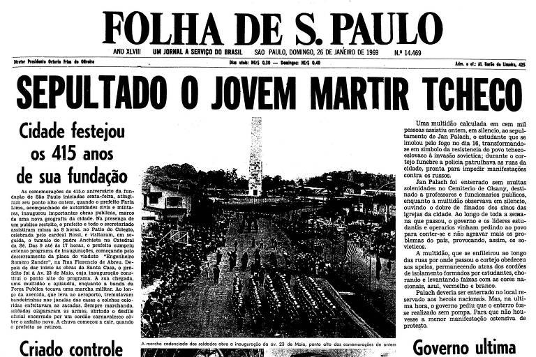 Primeira página da Folha de S.Paulo de 26 de janeiro de 1969