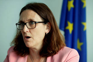FILE PHOTO: EU Trade Commissioner Malmstrom attends an interview with Reuters in Geneva