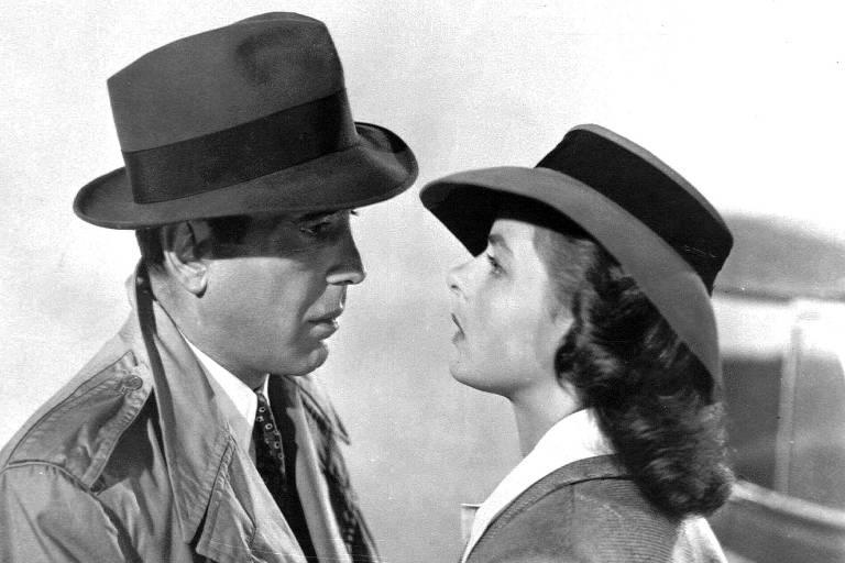 Os atores Humphrey Bogart e Ingrid Bergman em cena do filme 'Casablanca' (1942), de Michael Curtiz