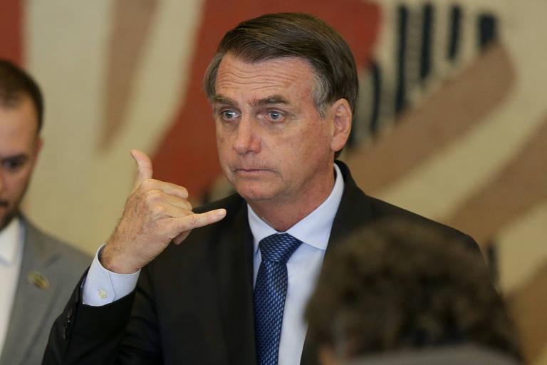 O presidente Jair Bolsonaro em evento no palácio do Itamaraty, em Brasília