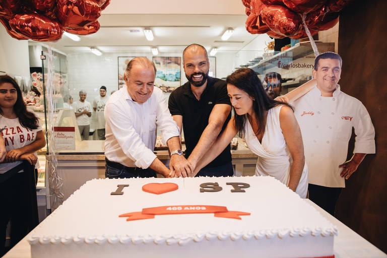 Prefeito Bruno Covas na Carlo's Bakery, no Jardins, nas comemorações do aniversário de São Paulo