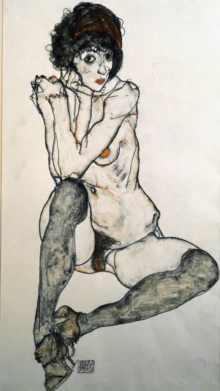 desenho de mulher nua sentada
