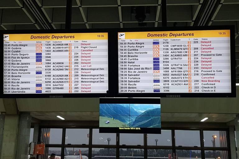 Painel no aeroporto de Guarulhos mostra voos atrasados