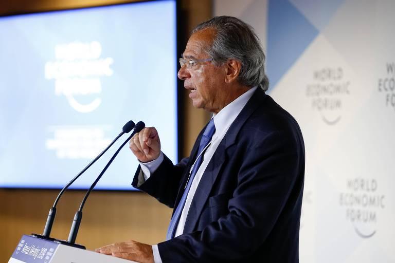 Ministro da Economia Paulo Guedes discursa no Fórum Econômico Mundial em Davos, na Suíça