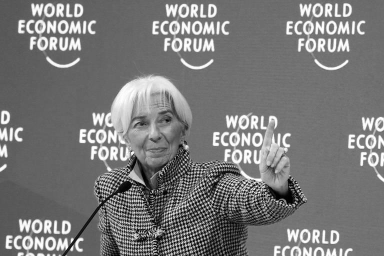 Christine Lagarde, do FMI, durante participação em painel no Fórum Econômico Mundial, em Davos