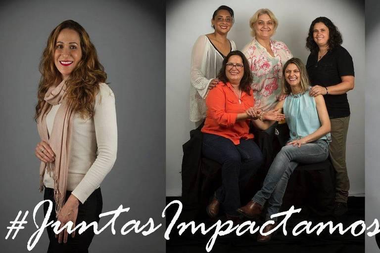 Fotos da campanha Juntas Impactamos, que destaca a presença das mulheres nas lutas por direitos sociais