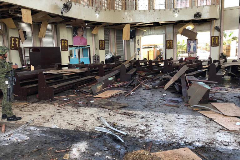 Igreja de Jolo onde bomba explodiu em atentado em janeiro deste ano