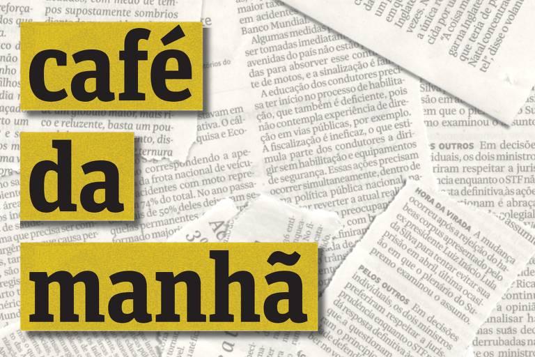 Imagem de capa do podcast Café da Manhã, com o nome do programa escrito sobre vários recortes de jornais. Logos de de Spotify e Folha de S.Paulo podem ser vistas nos cantos