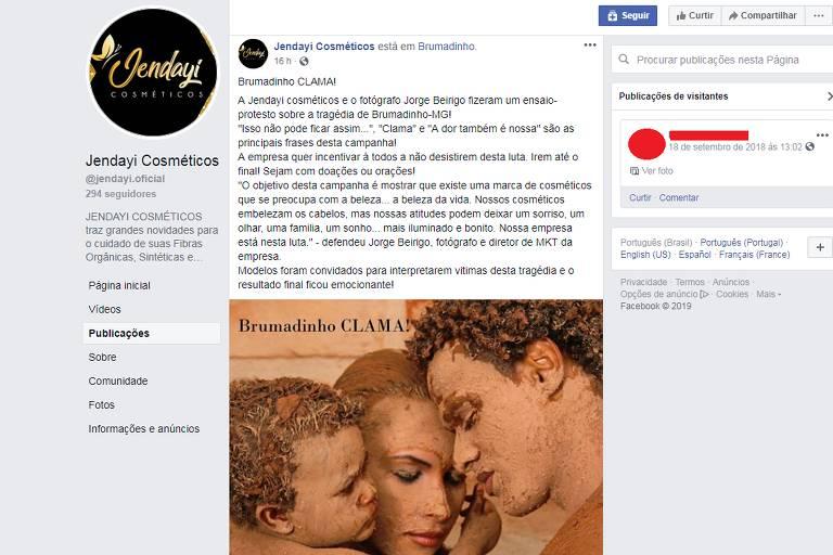 Marca de cosméticos recebe críticas após campanha por Brumadinho com modelos cobertos de lama