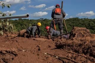 Bombeiros fazem buscas por vítimas soterradas na lama em Brumadinho (MG)