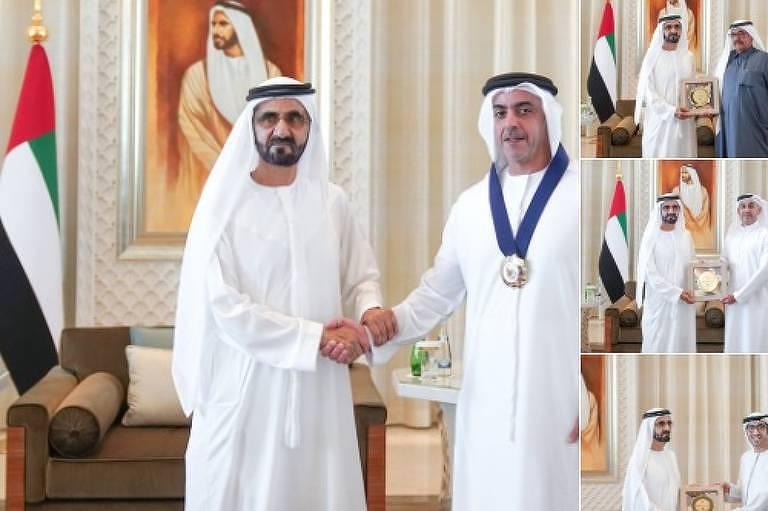 Fotos divulgadas pelo emirado de Dubai mostram premiê dos Emirados dando prêmio de igualdade de gênero apenas a vencedores homens