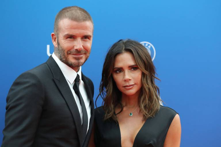 David Beckham e Victoria no UEFA Champions League/2018