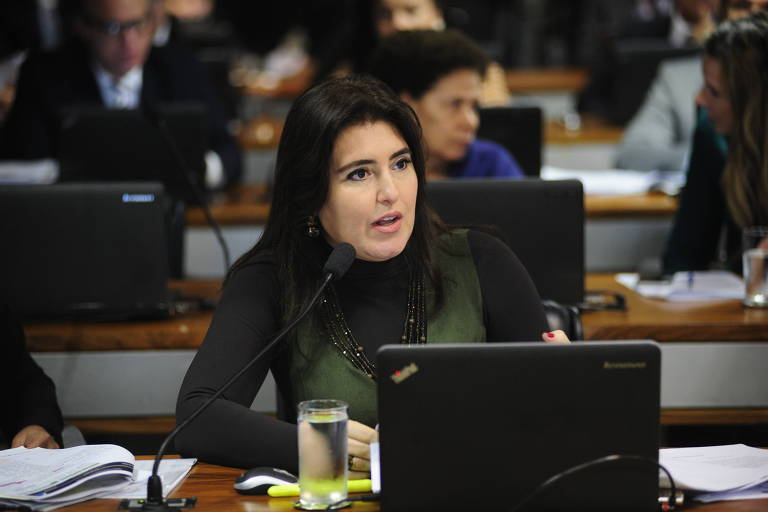 Senadora Simone Tebet (MDB-MS), que concorre com Renan a indicação do partido para disputar a presidência do Senado