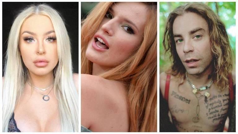 A youtuber e cantora Tana Mongeau, a atriz Bella Thorne e o rapper Mod Sun