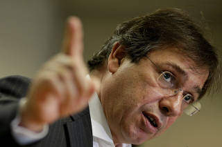 FILE PHOTO: CEO of Eletrobras, the state-owned Brazilian power company, Wilson Ferreira Junior gestures during a news conference in Brasilia