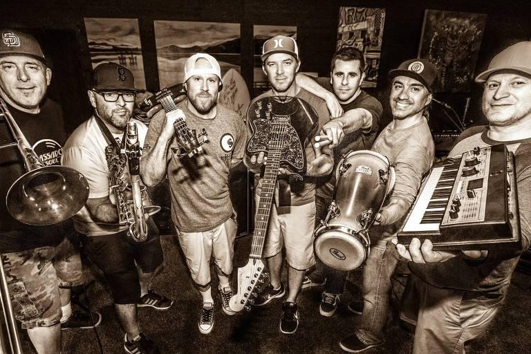 A banda Slightly Stoopid que se apresenta no Cine Joia