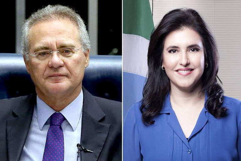 Montagem com fotos de Renan Calheiros (AL) e Simone Tebet (MS), que disputam a candidatura pelo MDB à presidência do Senado