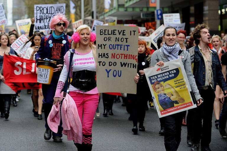 Protesto de mulheres em Sydney, na Austrália