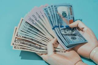 Cédulas de dólar. Papel Moeda. Dinheiro