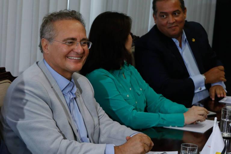 O senador Renan Calheiros (AL) durante reunião da liderança do MDB no Senado. Ele superou Simone Tebet (MS) e será o candidato do partido à presidência da Casa