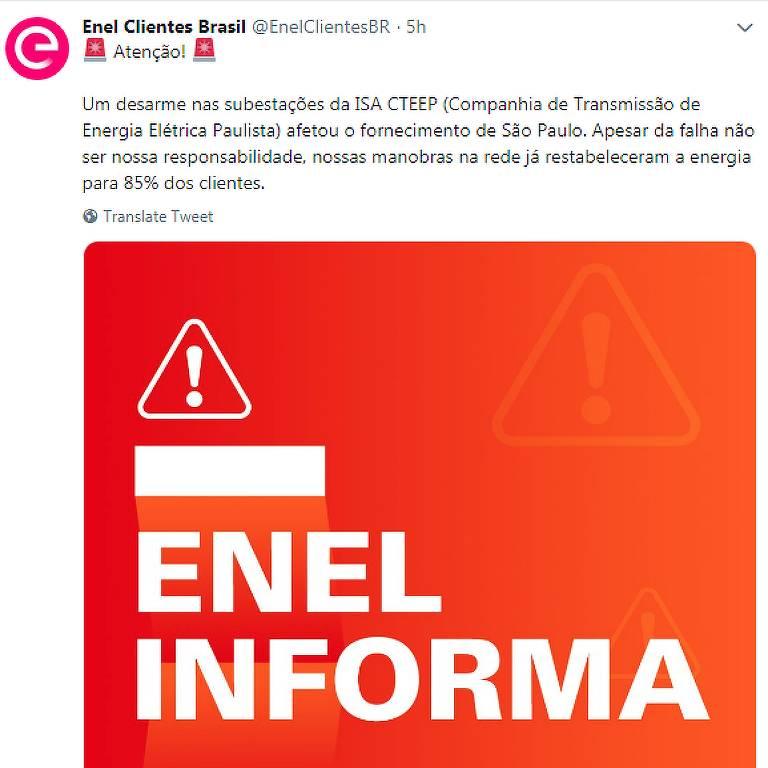 Tweet da Enel informando o apagão na zona leste e ABC na noite de quinta-feira (31)