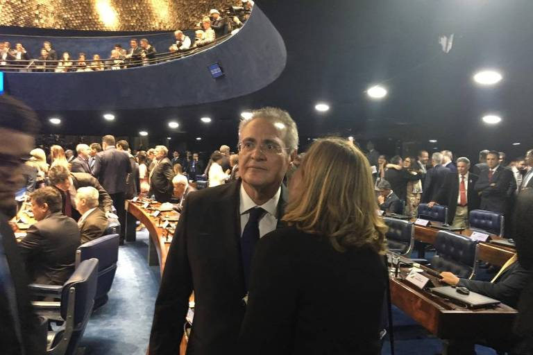 O senador Renan Calheiros no plenário do Senado para posse de seu quarto mandato
