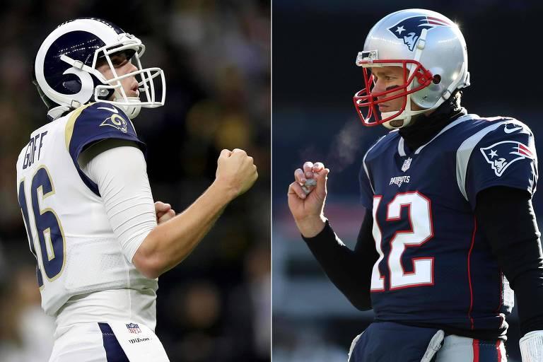 Os quarterbacks Jared Goff (à esq.) e Tom Brady em partidas dos playoffs da NFL
