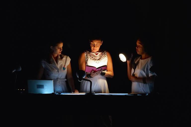 mulheres olham documentos segurando lanterna