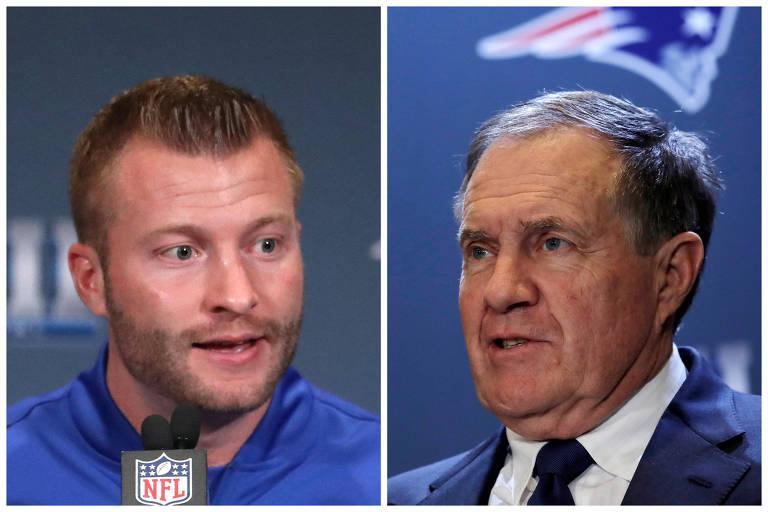 Sean McVay, 33, técnico do Rams, e Bill Belichick, 66, treinador do Patriots