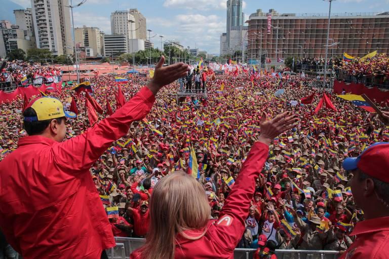 Protesto em Caracas em 2 de fevereiro