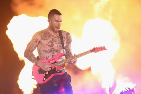 ATLANTA, GA - FEBRUARY 03: Adam Levine and Maroon 5 perform during the Pepsi Super Bowl LIII Halftime Show at Mercedes-Benz Stadium on February 3, 2019 in Atlanta, Georgia.   Jamie Squire/Getty Images/AFP == FOR NEWSPAPERS, INTERNET, TELCOS & TELEVISION USE ONLY ==