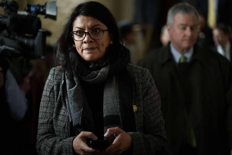 A deputada palestino-americana Rashida Tlaib