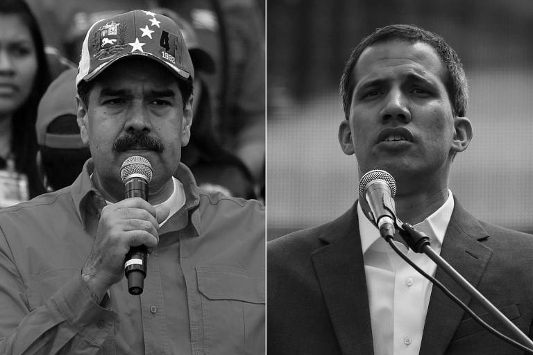 Nicolás Maduro (à esq.) e Juan Guaidó
