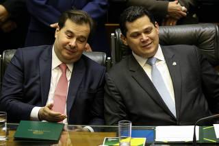 Rodrigo Maia (DEM-RJ) e Davi Alcolumbre (DEM-AP)