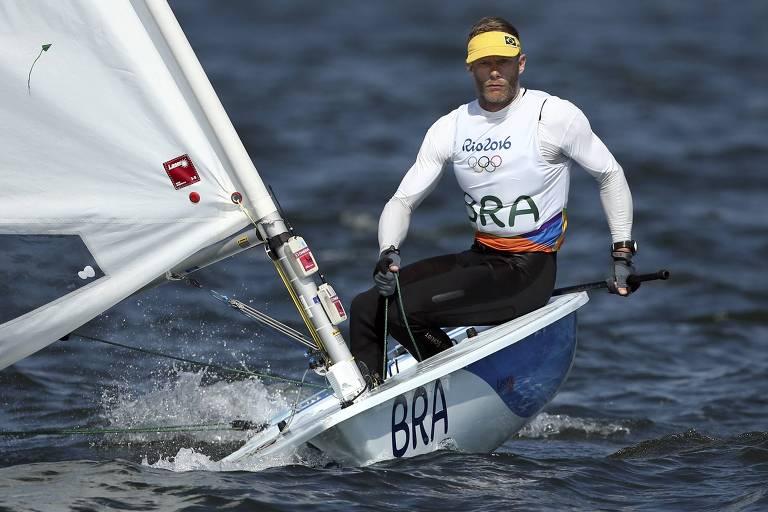 Robert Scheidt na final da categoria Laser na Olimpíada do Rio, em 2016